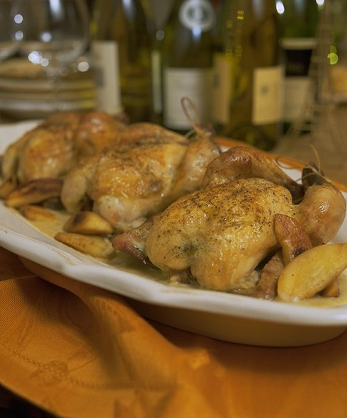 Roasted Game Hens with Calvados
