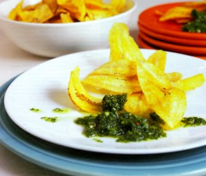 Appetizer Recipe: Plantain Chips with Chimichurri